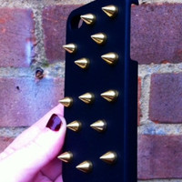 Black Matte Gold Studded Spike iPhone 4 4S Phone Case