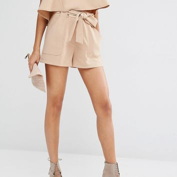 Parallel Lines High Waisted Shorts With Belt Tie Co-Ord
