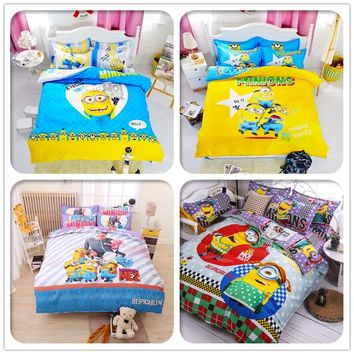 Cartoon Minions Bedding Set Stitch Pikachu Hello Kitty Printed Bed Linen for Kids Gift Include Duvet Cover Bed Sheet Pillow Case