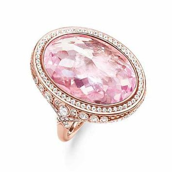 THOMAS SABO Glam & Soul Opulent Pink Rose Gold Plated Cocktail Ring - TR2023-633-9