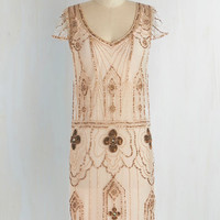 Vintage Inspired Mid-length Cap Sleeves Shift Rococo Radiance Dress