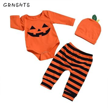 GRNSHTS Newborn Kid Baby Boy Girls Halloween Clothes Pumpkin Romper Pants Hat 3pcs Skeleton Costume Fall Winter Clothing Set