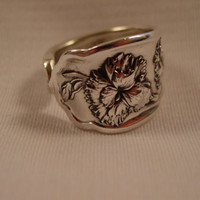 A Beautiful Spoon Ring Size 12 With Flowers Vintage Spoon and Fork Jewelry t34