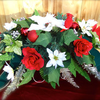 """Headstone Floral Saddle Arrangement """"Forever in My Heart"""" - Cemetery, Memorial Saddle, Remembrance, Gravesite Flowers, Funeral Arrangement"""
