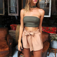 Summer Womens 2 Pieces Sets Fashion Strapless Halter Bra Crop Top And High Waist Shorts Set