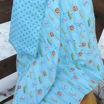 Jungle Animals Flannel Receiving or Swaddling Blanket, Double Layer, 2 Layer Serged Blanket, New Design, Crib or Stroller Blanket