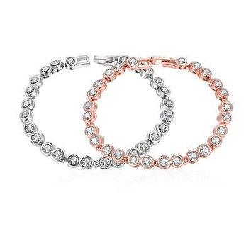 """Around the World"" 18K Rose Gold Plated Bracelet with Swarovski Elements"