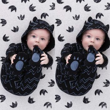 US Stock Infant Baby Boy Cute Ear Hooded Romper Bodysuit Jumpsuit Outfit Clothes