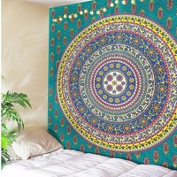 CAMMITEVER Dropshipping Belgium New Mandala Tapestry Blue Circle Moon Sun Tai Chi Wall Art Tapestry Indian Sheet