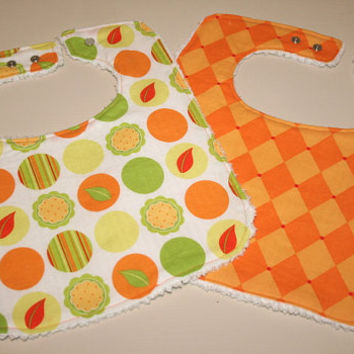 Baby Bib Set of 2 - Michael Miller Tangerine Mod Dot and Jester Print Fabrics- Gender Neutral- Baby Boy Bib- Baby Girl Bib