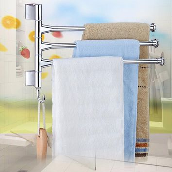 Stainless Steel 3 Rod Rotating Bathroom Towel Bar