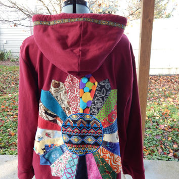 Upcycled Zip Up Brick Red Hoodie Patchwork  Mandala OOAK Size 2X  Ladies Patchwork Hippie clothes, Hoody Festival