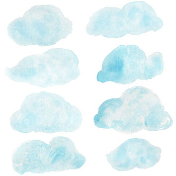 Cloudy Day Watercolor Clip Arts for Scrapbooking Digital Files