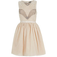 River Island Womens Light pink pearl embellished prom dress