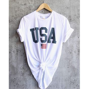 distracted - USA unisex graphic tee - white