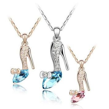 Popilarity High Quality Trendy Gold/Silver Plated Crystal Glass Slipper Shoes Pendant