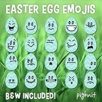 Easter Egg Emoji Clip Art | 20 Facial Expressions on Simple Chevron Egg Shapes!