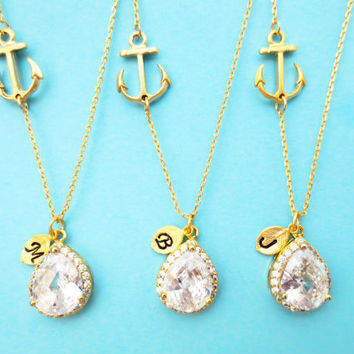 Set of 5-10, Personalized, Letter, Initial, Nautical, Marine, Anchor, Cubic, Gold, Necklace, Wedding, Bridesmaid, Gift, Jewelry
