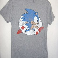 BNWT SEGA MENS CARTOON CHARACTER SONIC THE HEDGEHOG TOP / T-SHIRT GREY SIZE XS