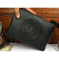 Versace Trending Women Men Leather Handbag Business Envelope Purse Bag