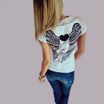 Women's T shirt Back Hollow Angel Wings T-shirt Tops Summer Style Woman Lace Short Sleeve Tops T shirts Clothing-Y107