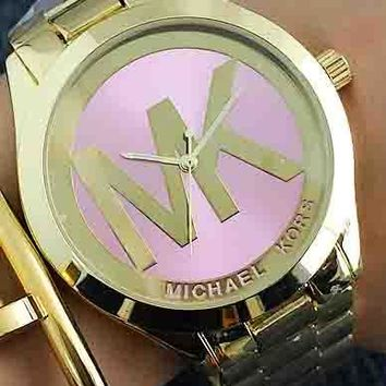 MK Women Men Trending Fashion Casual Quartz Movement Watch F-Fushida-8899 Gold Watchband+ Gold Case+ Pink Dial