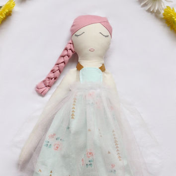 Ballerina Rag Doll - Cloth Art Doll Girl With Mint Floral Tutu Dress and Ballet Shoes by Wildflower Dream Dolls