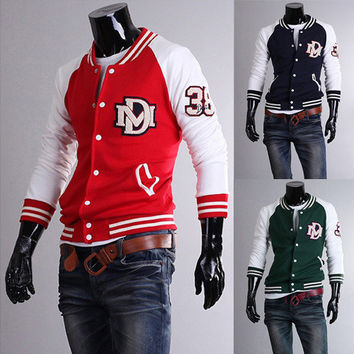 Classic Embroidery Baseball Color-Hit Sweater Jackets