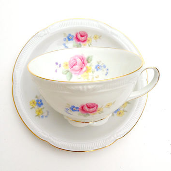 Zeh Scherzer Floral Teacup, China Tea Cup and Saucer Set, Porcelain Teacup Set, Bavarian China, Z S and Co Bavaria, World War II Porcelain