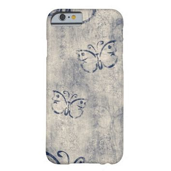 Pretty Blue Butterflies On Gray Grunge Background Barely There iPhone 6 Case