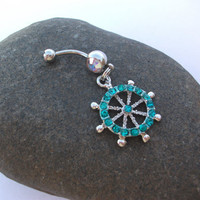 SALE Turquoise studded wheel belly ring (size of a quarter) 14 gauge