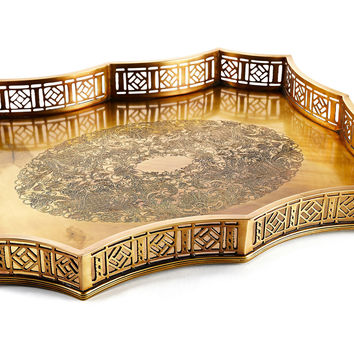 "23"" Scalloped Gallery Tray, Gold, Decorative Trays"