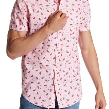 Straight Faded | Watermelon Print Short Sleeve Modern Fit Shirt | Nordstrom Rack