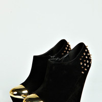 Kayla Metallic Studded Wedges