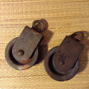Vintage James H Channon Pulleys - Recovered from a Farm Auction Pair of Swivel Pullies, Rollers