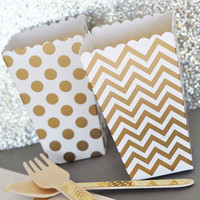 Popcorn Boxes - Gold Chevron Polka Dot or Stripe for Candy Bar - Wedding Favors Party Favor