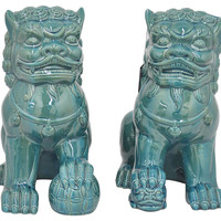 Asst. of 2 Foo Dogs, Turquoise, Figurines & Animal Figures