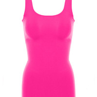 Seamless Scoop Neck Tank Top  Hot Pink