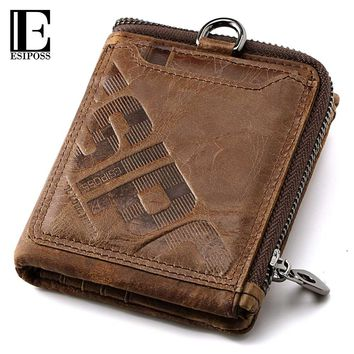 ESIPOSS Wallet Men Famous Brand Men's Genuine Leather Wallet Male Purse Wallets With Coin Pocket Purse Card Holder Portomonee