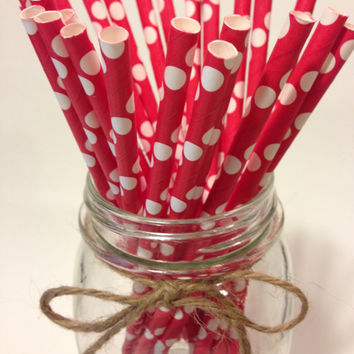 25 RED Solid Polka Dot paper straws // baby bridal shower decorations / candy dessert buffet table / wedding / First birthday/new year party