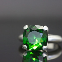 LOVE ON SALE Large 12mm square cushion cut Swarovski crystal in Moss Green set in a sterling silver ring