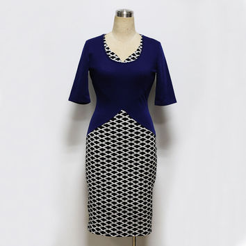 Women's Office V-Neck Retro Business Bodycon Pencil Dress Half Sleeve Tunic Fitted Sheath Colorblock Plaid Dress Vestidos