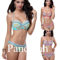 Pandolah Sexy Women Floral Swimsuit Swimwear Bathing Push Up Padded Bra Bikini 2 pcs S M L = 1956943620
