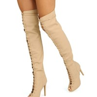 Nude Lace Up High Bootie