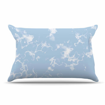 "Vasare Nar ""Marble Clouds"" White Blue Pillow Case"