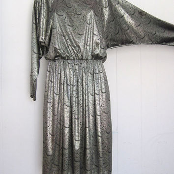Vintage 80s Metallic Peacock Disco Dress batwing silver glam drape S M
