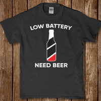 Low Battery Need Beer funny Drinking t-shirt for men New