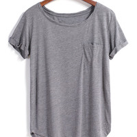 Grey Short Sleeve Pocket Loose Blouse -SheIn(Sheinside)