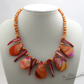 Orange shell necklace collar necklace orange jewelry boho necklace statement jewelry seashell choker necklace mother of pearl necklace gift