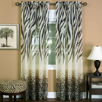 "Savannah Collection Wild Safari Zebra and Leopard Print Set of 2 Sheer Panels in Brown (50"" x 84"")"